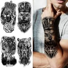 Coroa leão cruz tatuagens temporárias para homens mulher tigre demônio rosa floresta tatuagens falsas antebraço coxa meia manga tatoos adesivos