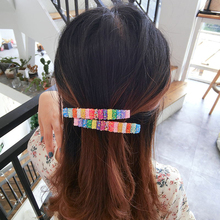 Web celebrity bang clip color small edge hair female accessories gradual change 7 pony tail a word duc