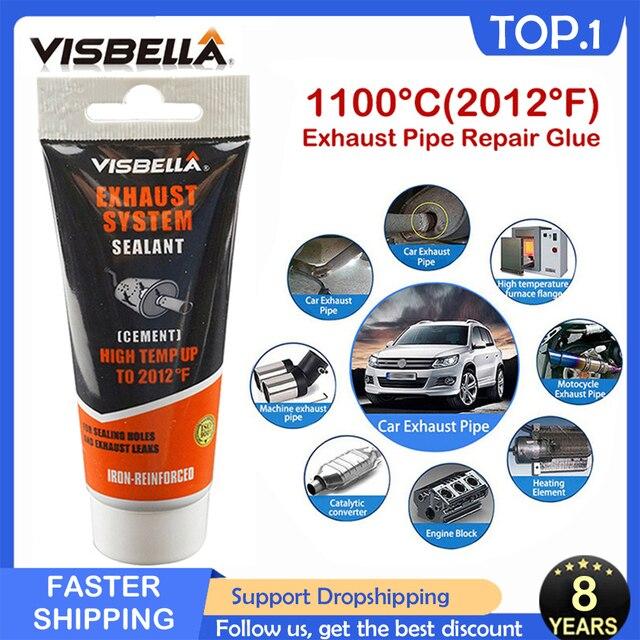VISBELLA רכב פליטה מילוי פליטה צינור תיקון דבק איטום טמפרטורה גבוהה אוטומטי אופנוע מערכת צינור קולק תיקון להדביק 75g