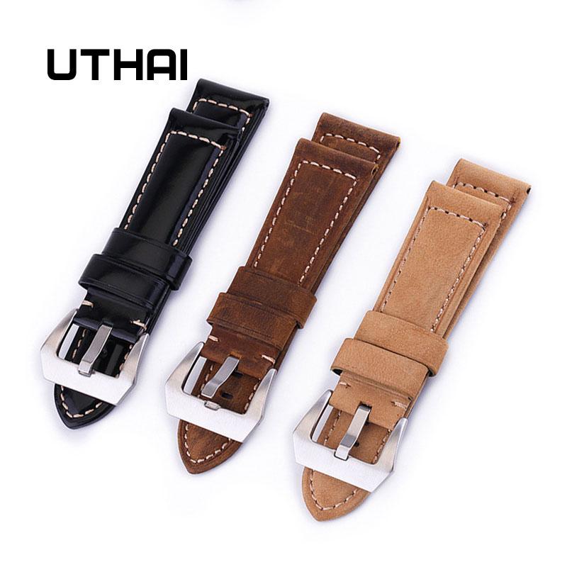 UTHAI Z17 Ремешки для наручных часов 20 мм 22 мм 24 мм 26 мм высокого класса Ретро телячья кожа ремешок для часов с ремешками из натуральной кожи Ремешки для часов      АлиЭкспресс