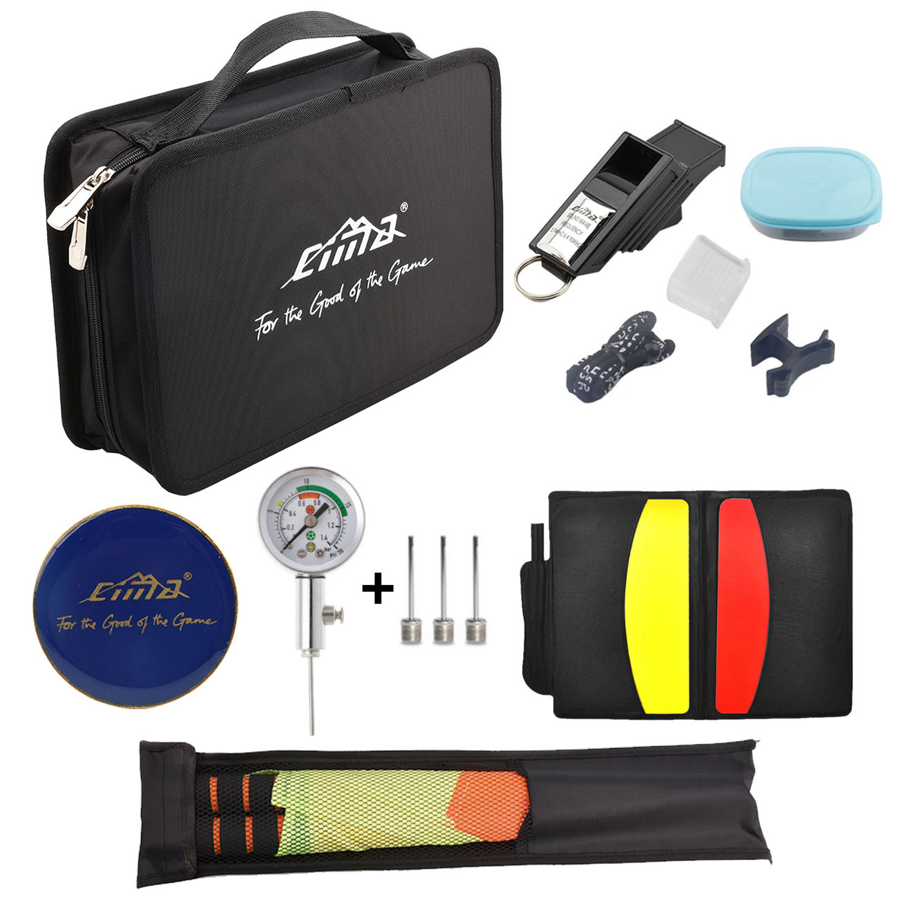 Football Referee Bag Wallet Whistle Coin Cards Barometer Pressure Gauge Linesman Flag Set Soccer Training Equipment