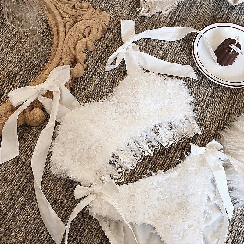 Wriufred Vintage Feather Underwear Wedding Dress Lingerie Sets Non-rimmed Cotton Tube Top Bra Set Sexy White Fairy Women Bralett