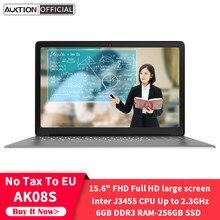 Novo ak08s 15.6 Polegada computador portátil intel j3455 quad core 6gb ram 256gb ssd windows 10 computador portátil ultra-fino para estudo de escritório