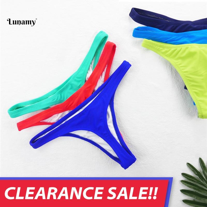 Liquidation vente Lunamy Sexy Bikini string maillots de bain femmes bas couleur unie Bikini t-back brésilien culotte de natation