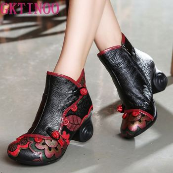 karinluna 2018 plus size 33 45 genuine cow leather boots women shoes square high heels best quality knee high boots shoes woman GKTINOO Winter Shoes Woman Cow Leather Flower Shoes High Heels Ankle Boots Genuine Leather Handmade Retro Women Boots