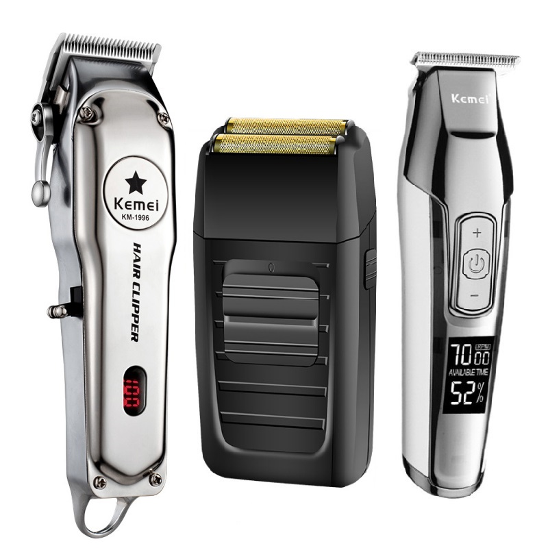 Kemei All Metal Professional Electric Hair Clipper Rechargeable Hair Trimmer Haircut Shaving Machine Kit KM-1996 KM-1102 KM-5027
