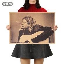 TIE LER Kurt Cobain Nirvana cartel de Rock Frontman papel Kraft café póster para Bar Retro pegatina de pared