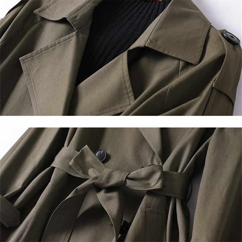 عالية الجودة الجيش الأخضر مزدوجة الصدر سترة واقية للنساء الخريف الكورية طويل خندق معطف النساء ضئيلة عارضة قميص الإناث