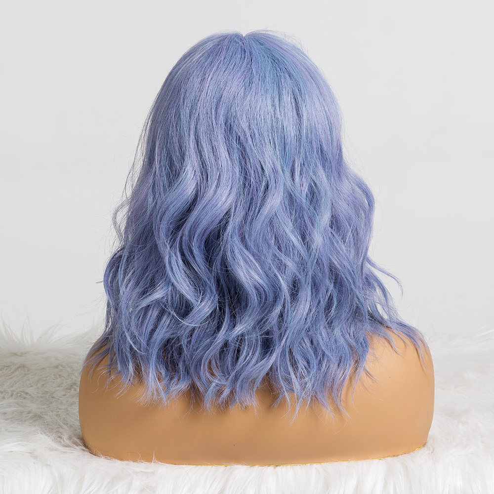 Image 5 - ALAN EATON Cute Synthetic Short Wigs with Bangs for Women Wave Hair Wig Natural Cosplay Mixed Blue Purple BObo Lolita WigsSynthetic None-Lace  Wigs   -