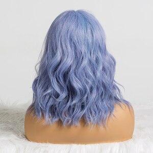 Image 5 - ALAN EATON śliczne syntetyczne krótkie peruki z grzywką dla kobiet fala włosów peruka naturalne Cosplay mieszane niebieski fioletowy BObo Lolita peruki