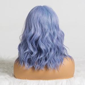 Image 5 - ALAN EATON sevimli sentetik kısa peruk kadınlar için patlama ile dalga saç peruk doğal Cosplay karışık mavi mor BObo Lolita peruk