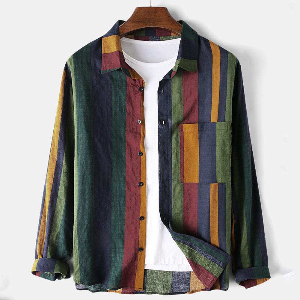 Vintage Stripe Shirt Men Long Sleeve Blouse Cotton Linen Male Shirts Breathable Casual Hip Hop Strretwear Stripe Men Shirts