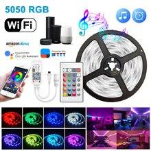 Wifi led tira luz inteligente bluetooth luces led rgb 5050 smd dc 12v 5m 10m 15m app controle fita flexível led tira conduzida