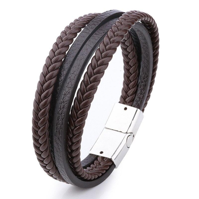 Мужской браслет, многослойный кожаный браслет с магнитной застежкой, Воловья кожа, плетеный многослойный браслет, модный браслет на руку, pulsera hombre - Окраска металла: 4