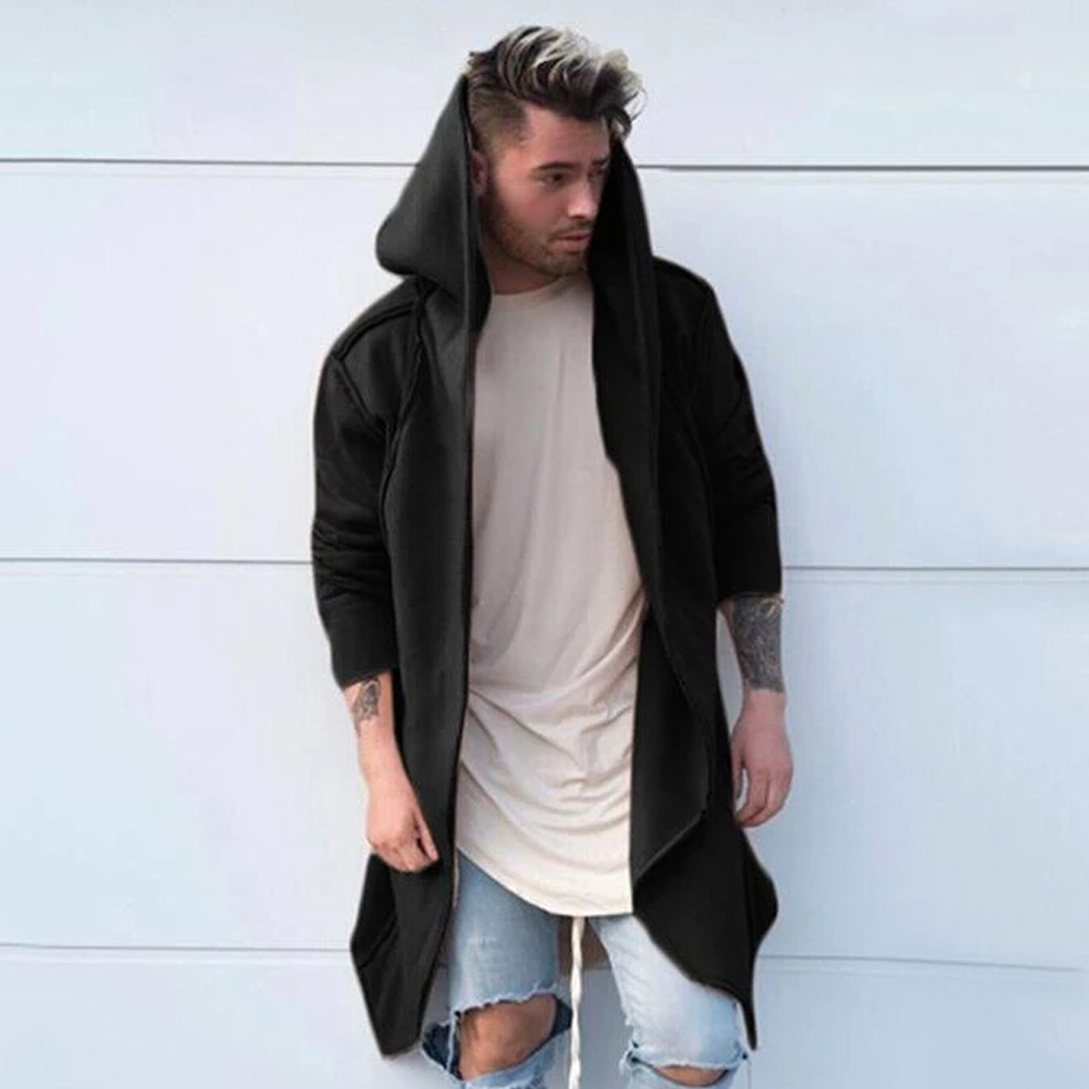 Fashion Men Cardigan Hooded Long Cloak Cape Coat Jacket Trench Overcoat Outwear