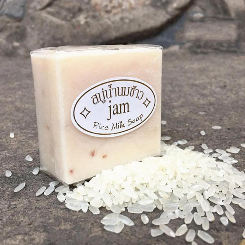 Handmade Rice Soap Thai Jasmine Rice Collagen Vitamin Skin Whitening Bathing Oil Control Whitening Moisturizing Tools