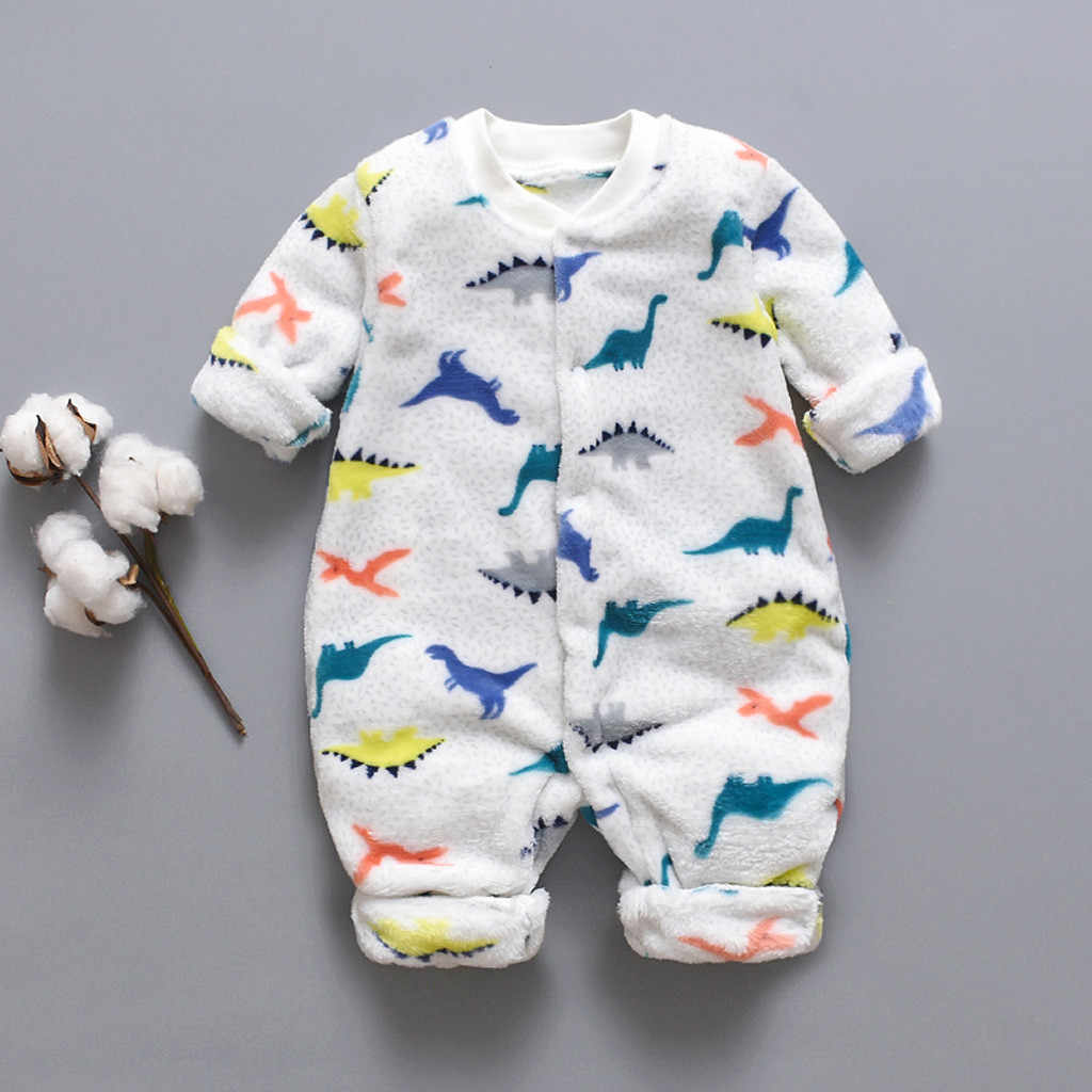 Newborn Infant Baby Cartoon Dinosaur Fleece Warm Romper Jumpsuit Soft Pajamas Long Sleeve Jumpsuit Kids Baby Outfits Clothes