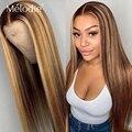 Melodie 4 27 хайлайтер Омбре коричневый прямой 28 30 дюймов кружевные передние парики бразильские человеческие волосы 13x4 кружева для черных женщи...