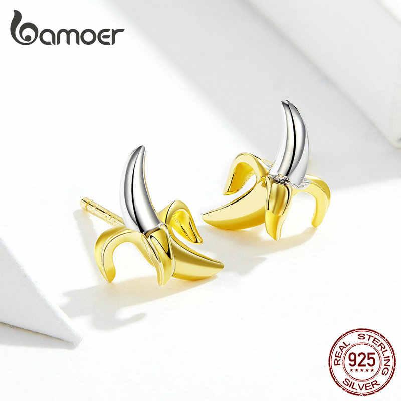 Bamoer Obst Banane Stud Ohrringe für Frauen Lustige Design 925 Sterling Silber Koreanische Gold Farbe Mode Schmuck Ohr Pins SCE731