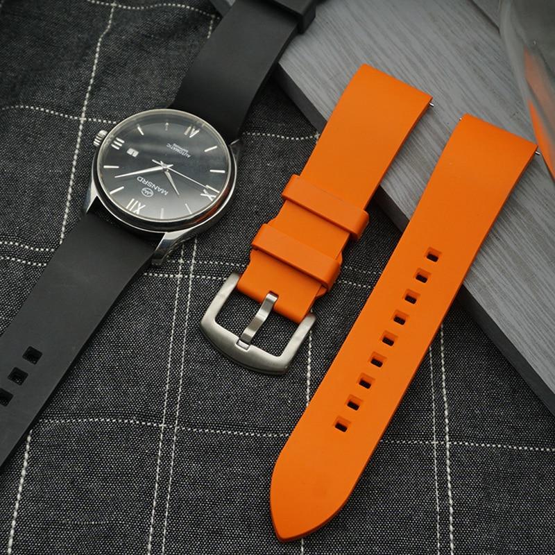 Высококачественный фторкаучуковый ремешок для часов 20 мм 22 мм 24 мм браслет быстросъемный ремешок для часов для каждого бренда