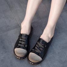 Artmu Retro Deep Neck Women Shoes Comfortable Soft Soles Genuine Leather Autumn New Flat Sole Handmade Round Toe Casual Flats цены онлайн