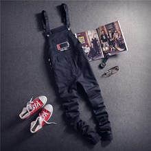 Mens Black Cargo Trouser Bib Overalls Casual Straight Long Bib Suspender Pants Men One Piece Male Fashion Work Jumpsuits XXL(China)