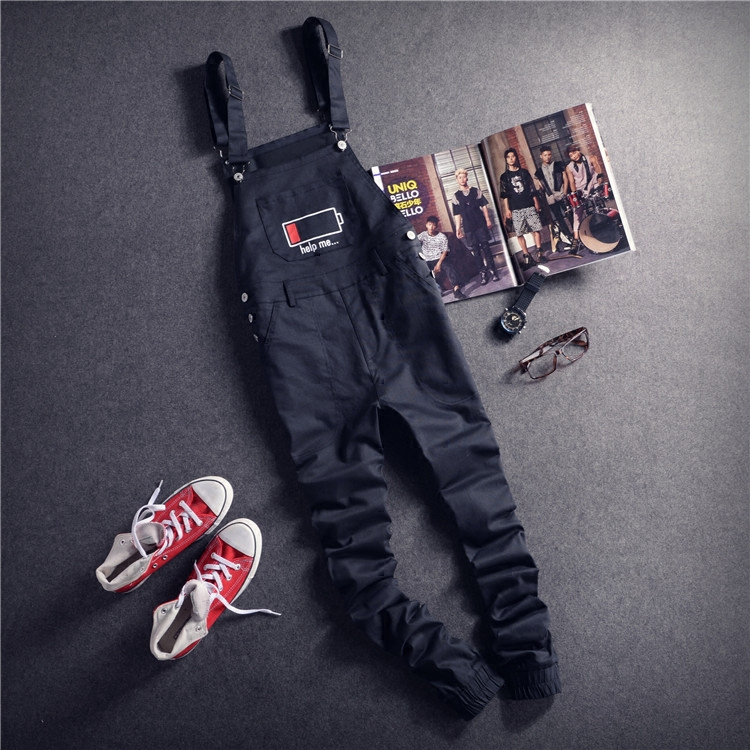 Mens Black Cargo Pants Letter Printed Bib Overalls Casual Straight Long Bib Suspender Trousers Men Fashion Work Jumpsuits XXL