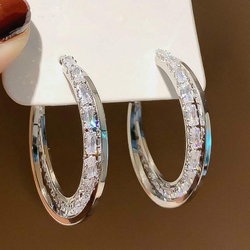 Needle Earrings for Women Jewelry Statement Cubic Zircon Large Round Elegant Female Earrings