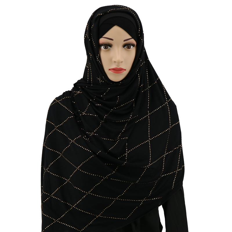 F1 2pcs  Diamond  Women Muslim Jersey Hijab Scarf  Femme Size Plus Hijabs Islamic Shawls Soild Modal Headscarf 90*180cn
