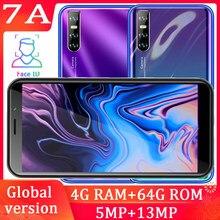 Smartphone 7a global quad-core, 4 gb ram, 64g rom, 6.0 polegadas, 13mp, face id, desbloqueado, celulares android barato celulares 3g wifi wcdma