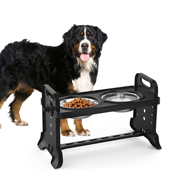 Anti-Slip Elevated Double Dog Bowl Adjustable Height Pet Feeding Dish Stainless Steel Foldable Food Water Feeder 3