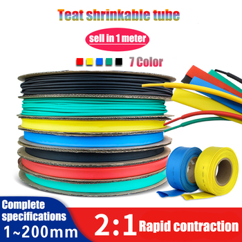 1meter 2:1 7mm8mm9mm10mm12mm14mm16mm18mm20mm22mm25mm Heat Shrink Heat shrink Tube tubing Thermoresistant tube Wire Sleeving Wrap