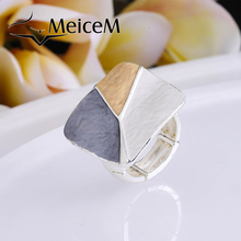 MeiceM 2021 Best-selling Geometric Ring New Fashion Enamel Rings For Women Trendy Silver Color Alloy Adjustment Jewelry Ring
