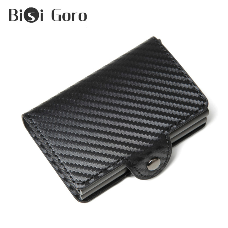 BISI GORO Anti-theft RFID Credit Card Holder Business Aluminium Double Boxes Card Case Carbon Fiber Metal Aluminum Card Wallet