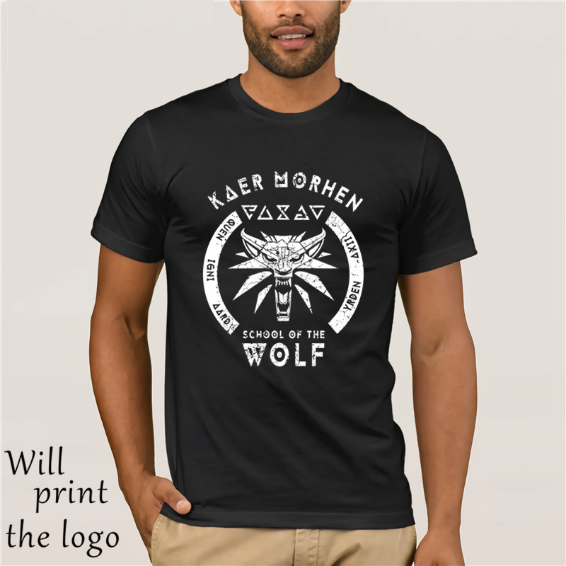 School Of The Wolf T Shirt Hot 2018 Fashion Black Cotton T-Shirt Witcher Wolf School Medallion - Crew Neck T-Shirtsoccer