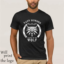 Sekolah Wolf T Shirt Hot 2018 Fashion Kaus Katun Hitam Witcher Serigala Sekolah Medallion-Kru Leher T -Shirtsoccer(China)
