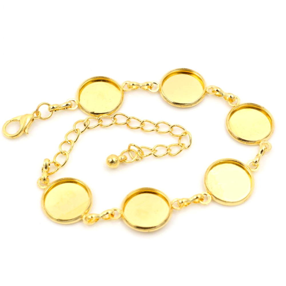 New High Quality 2pcs 12mm Gold Color Six 12mm Cameo Bangle Base Bracelet Blank Findings Setting Cabochon Cameo K2-37