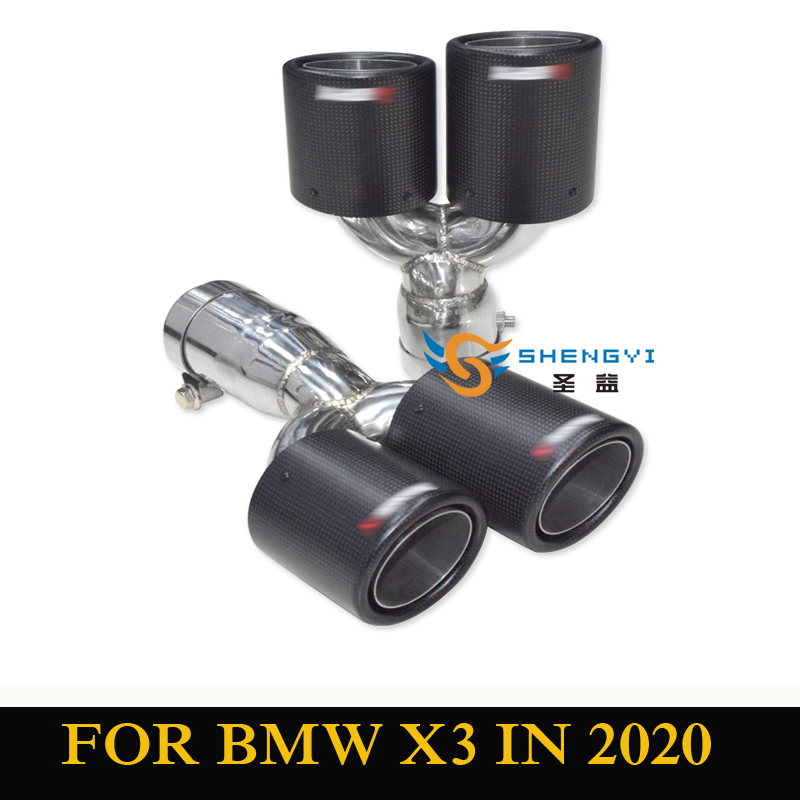 New arrival 1 pair black stainless steel carbon fiber car rear modified exhaust muffler tip tailpipe fit BMW X3 M40i in 2020|Mufflers| |  - title=