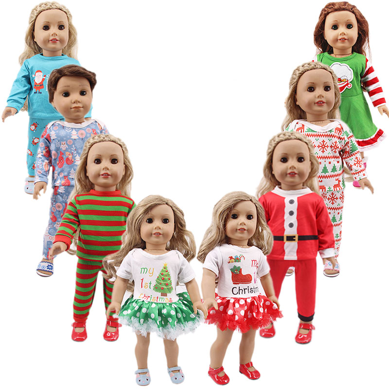 Doll Clothes Pajamas Christmas Nightgowns For 18 Inch American Logan Boy Doll Clothes Generation Girl`s Doll Toy Santa Claus