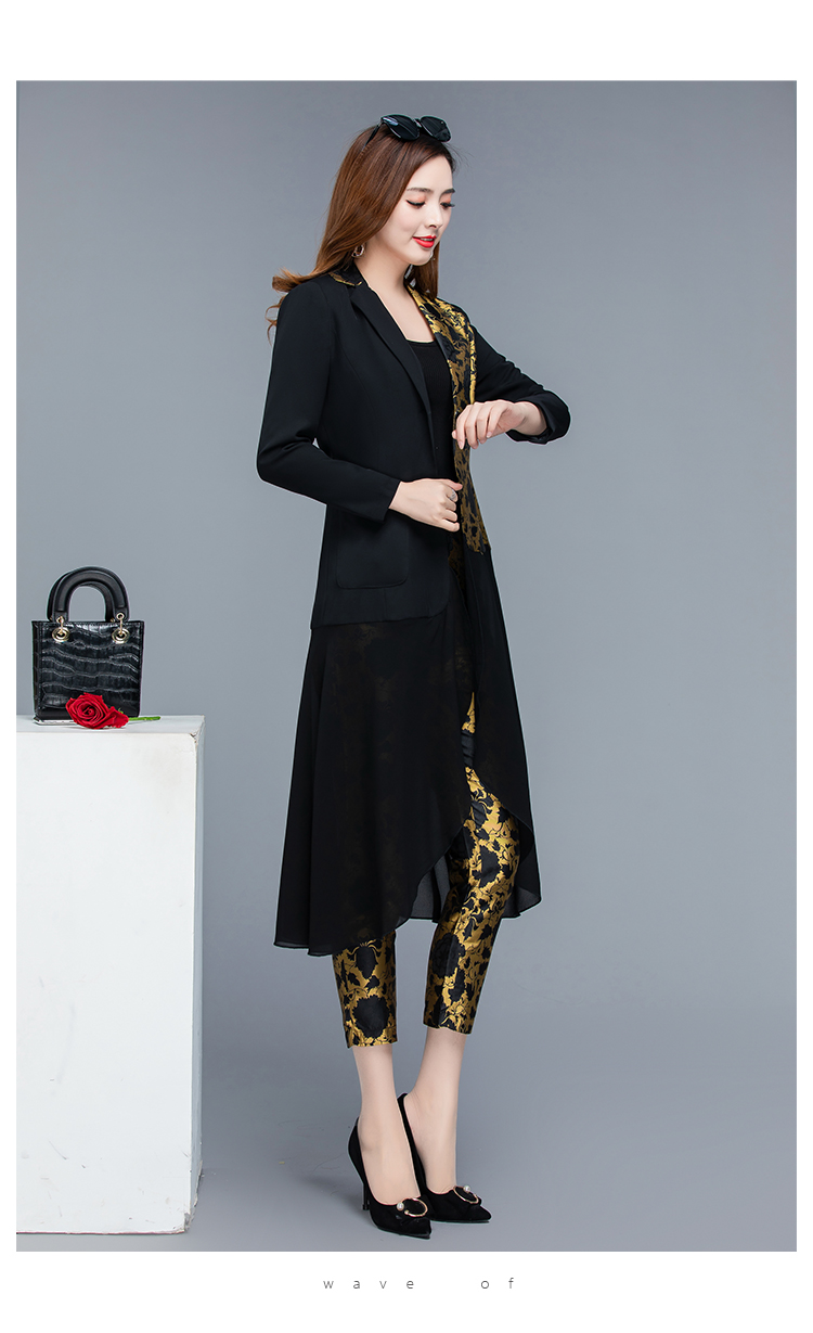 2019 Autumn Black Vintage Printed Two Piece Sets Outfits Women Plus Size Long Tops With Belt And Pants Suits Elegant Office Sets 46