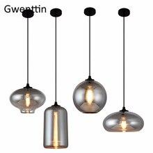 Moderne Rook Grijze Glazen Hanger Verlichting Voor Woonkamer Nordic Led Hanglamp Loft Industriële Opknoping Lamp Home Decor Armatuur E27