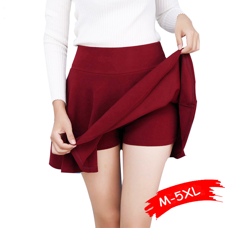 M-5XL Women Plus Size Tutu School Short Skirt Pants 2019 Summer 10 Colors Mini Saia High Waist Skirts Faldas Mujer Dropshipping