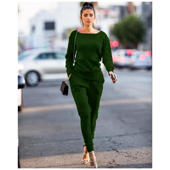 Green 2 Piece Fall Set Women Suits Tracksuit Outfits Sweater Knitted Top And Pant Sportwear Matching Co-ord Winter Clothing orange plus size 2 piece set women pant and top outfit tracksuit sportswear fitness co ord set 2019 summer large big clothing