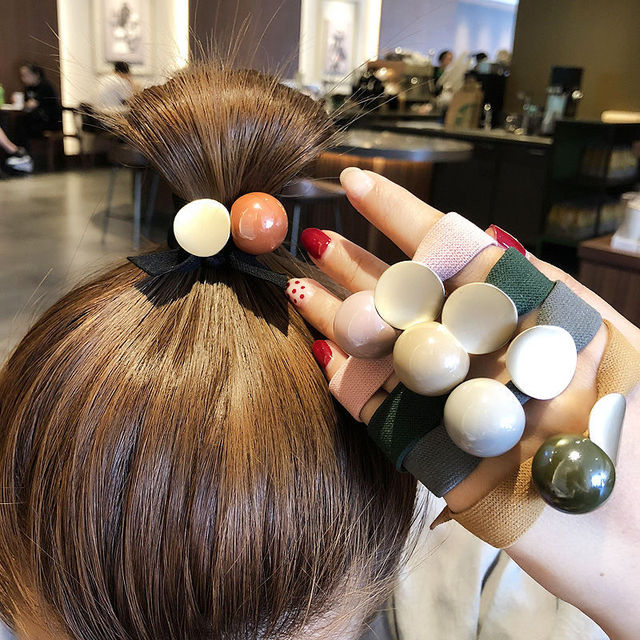 2020 New Korea Women Hair Ropes Big Crystal Pearl Elastic Rubber Band for Girl Fashion Hair Accessories Hair Ties Wholesale 3