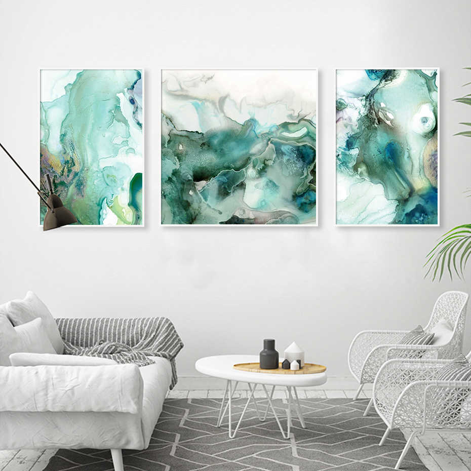 Abstract Mint Green Marble Wall Art Pictures Canvas Painting Gallery Posters And Prints Interior For Living Room Home Decor Painting Calligraphy Aliexpress