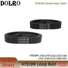 3 arco HTD 3M correia Dentada C = 216/219/222/225/228/231/234/237/240/243 largura 6/9/10/12/15/20mm passo síncrono 3mm do laço fechado de rubbe