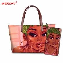 WHEREISART Women Handbags African Black Girls Magic Casual Totes Bag Female Top-