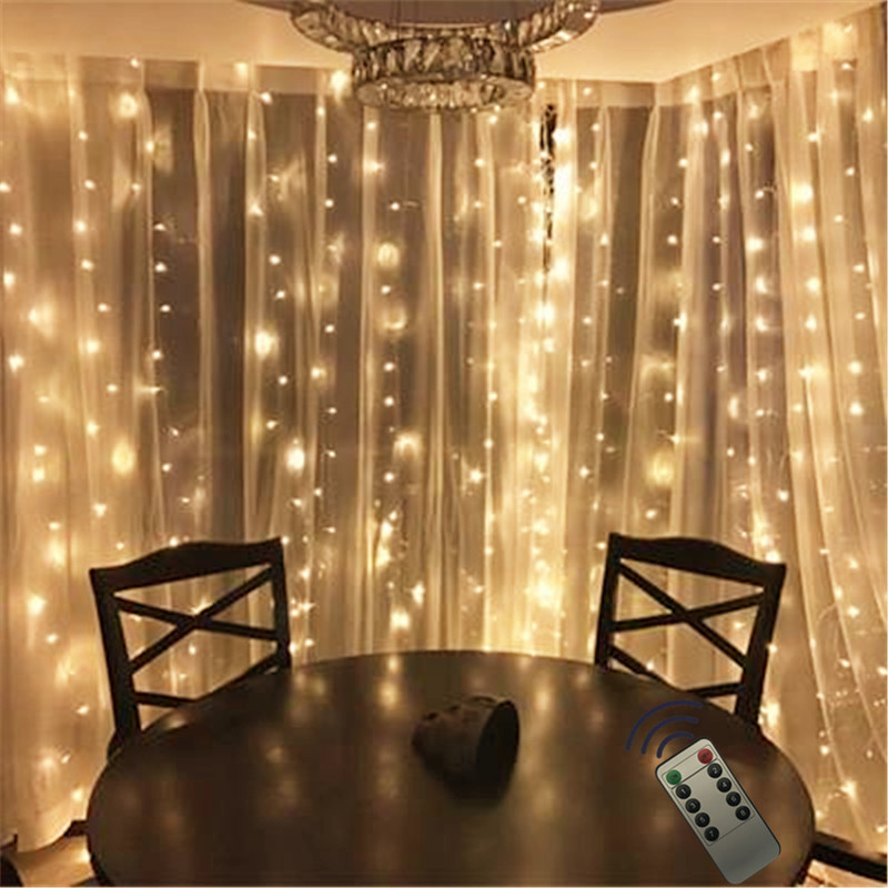 3*2.5M 240leds Fairy String Icicle Led Curtain Light Remote Outdoor Home Christmas Wedding New Year Garden Patio  Decoration