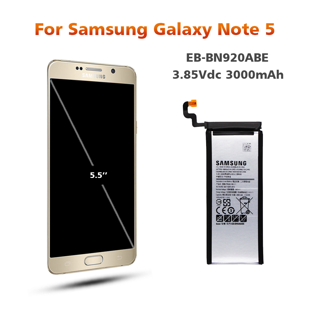 Original Battery For SAMSUNG N920 EB BN920ABE 3000mAh For Samsung Galaxy Note5 N9200 N920T N920C N9208 Replacement Phone Battery in Mobile Phone Batteries from Cellphones Telecommunications
