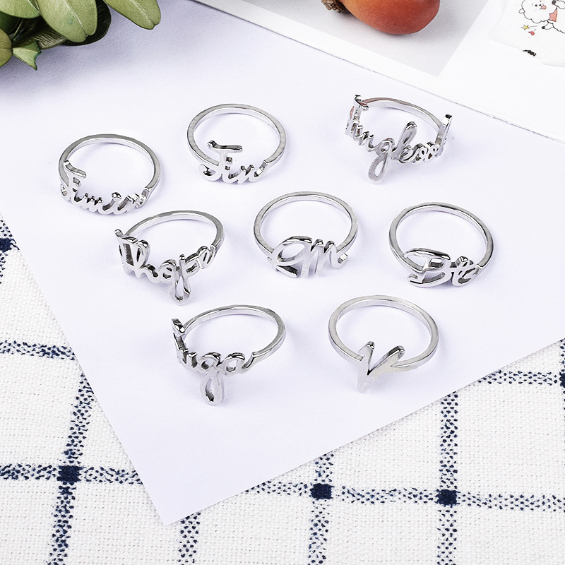 1Pcs KPOP Bangtan Boys Wave Alloy Silver Rings For Men Women Fashion Jewelry Ring Accessories Fans Decoration Gifts